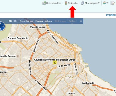 El tránsito en el mapa de Buenos Aires