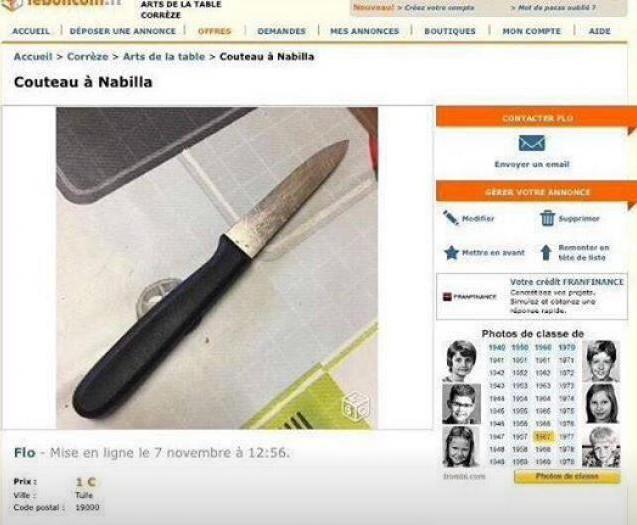 couteau de nabilla sur le bon coin