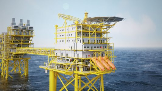 Tyra field development infrastructure in Danish North Sea