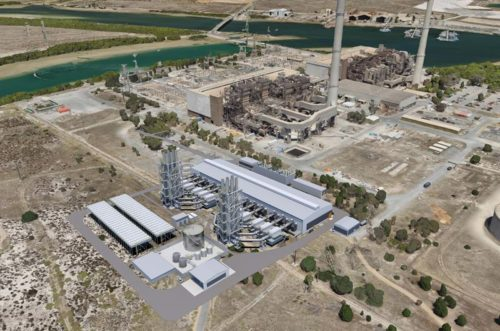 Illustration of Barker Inlet Power Station, a 210MW gas fired power plant in Australia