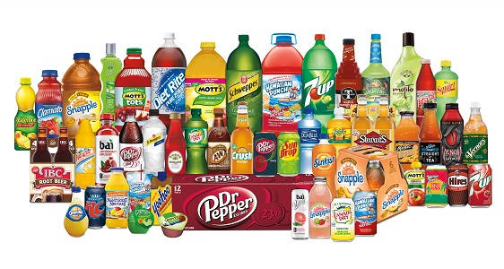 Product range of US soft drinks company Dr Pepper Snapple Group.