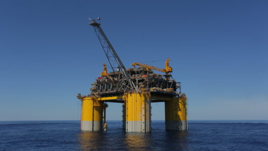Stampede oil and gas project - Stampede offshore platform in Gulf of Mexico.