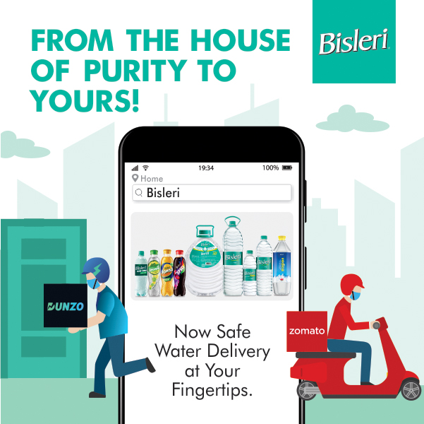 Zomato and Dunzo to home deliver Bisleri products in Indian cities