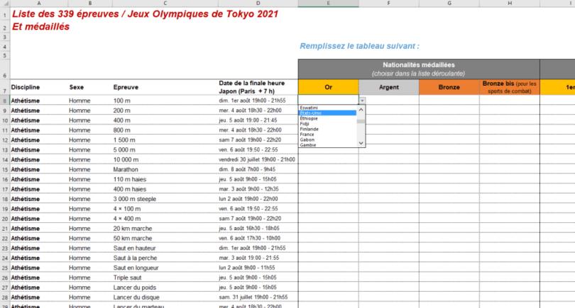 tableau des médailles JO 2021 à remplir excel