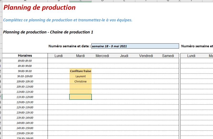 planification de production excel gratuit