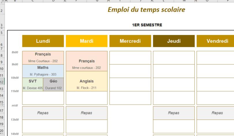 emploi du temps scolaire modèle gratuit Excel