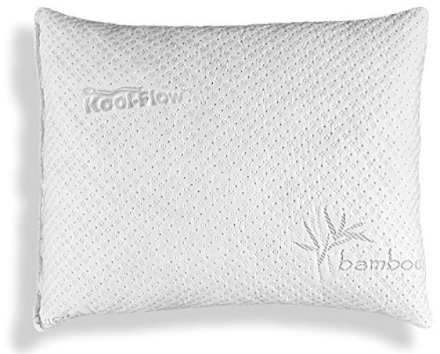 Xtreme Comforts Slim Hypoallergenic Shredded Memory Foam Standard Bamboo Pillow with Cover -