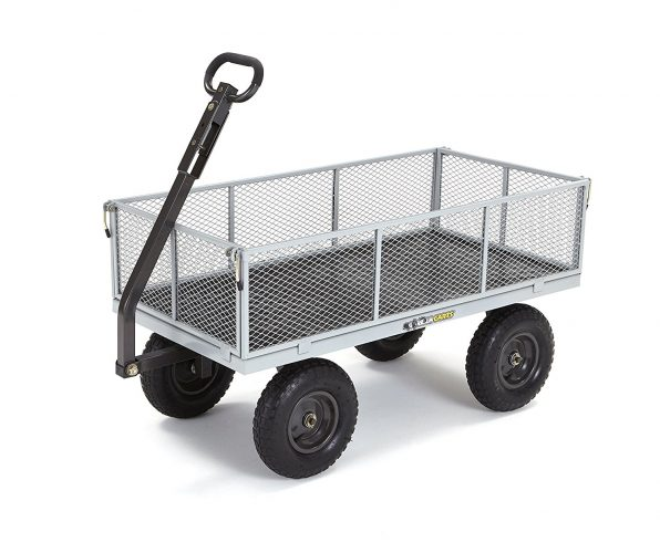 Gorilla Carts Heavy-Duty Steel Utility Cart with Removable Sides with a Capacity of 1000 lb, Gray-Garden Carts