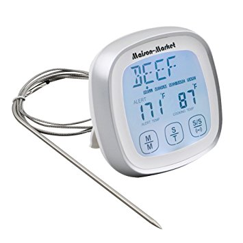 Touchscreen Digital Meat Thermometer with Timer Alert Function for Barbecue and Kitchen Cooking Grill Steak - meat thermometer