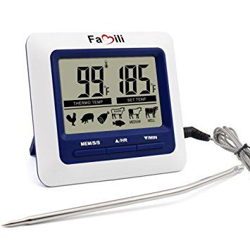 Famili MT004 Digital Kitchen Food Meat Cooking Electronic Thermometer Probe for BBQ, Oven, Grill, and Smoker with Timer Alarm and Large LCD Display - meat thermometer