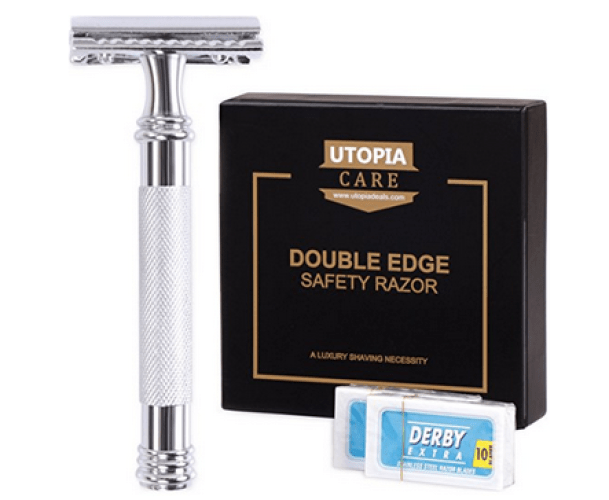 Double Edge Safety Razor with 20 Derby Blades - Chrome Finish 4 inch Long Handle, Rust Free and Unbreakable - By Utopia Care - Double Edge Safety Razors