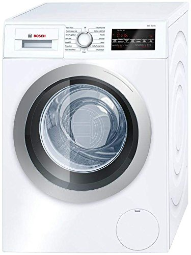 """Bosch 800 Series White Front Load Compact Laundry Stacked Pair with WAT28402UC 24"""" Washer, WTG86402UC 24"""" Electric Condensation Dryer and WTZ20410 Stacking Kit - Front Load Washers"""