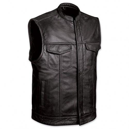 MEN'S MOTORCYCLE SONS OF ANARCHY BLACK LEATHER VEST W/GUN CELL GLASSES POCKETS - Motorcycle Vest for Men