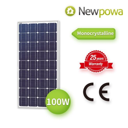 Newpowa 100 Watt Monocrystalline 100W 12V Solar Panel High Efficiency Mono Module RV Marine Boat Off Grid - Monocrystalline Solar Panels
