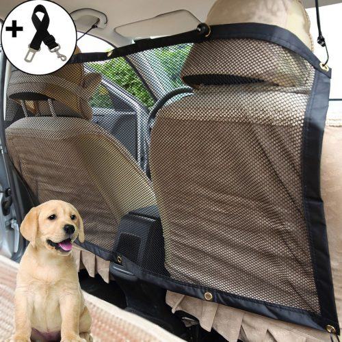 Big Ant Pet Barrier Car Dog Barrier Safety Travel Isolation Net Backseat Mesh Net with Bonus Adjustable Pet Car Seats Safety Belt-Easy to Install for Car, SUV, Truck - Dog Car Barriers