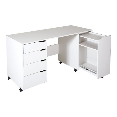 CREA SEWING CRAFT TABLE ON WHEELS (PURE WHITE) FROM SOUTH SHORE- SEWING CABINET