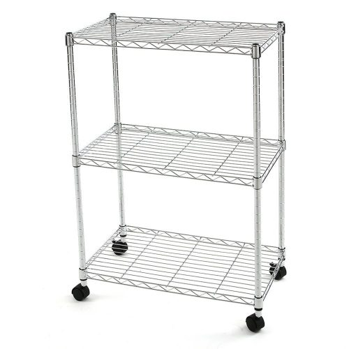 Finnhomy 3 Tier Heavy Duty Wire Rack Shelving with Wheels, Metal Adjustable Rolling Shelving Unit, Thicken Steel Tube Chrome - collapsible storage rack