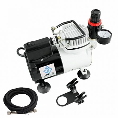 OPHIR 1/6HP Single Cylinder Pro Airbrush Compressor 110V with Built-in Fan for Craftwork Spraying Hobbies Models AC 114(110V) - Airbrush Compressors