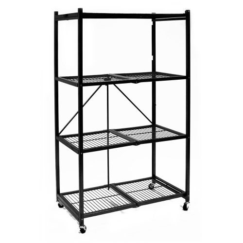 Origami R5-01W General Purpose 4-Shelf Steel Collapsible Storage Rack with Wheels, Large - collapsible storage rack