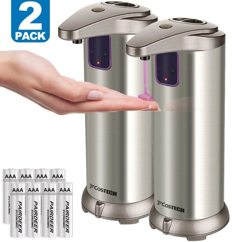 Automatic Soap Dispenser, Costech Auto Sensor Touchless Soap Dispenser with Brushed Stainless-Steel, Fingerprint Resistant Coating, and Waterproof Base Perfect for use in Bathrooms (2 Pack)