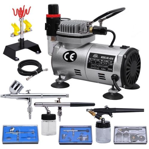 Multi-purpose Professional Airbrush Kit with 3Dual-action Spray Airbrushes & Compressor & 6'; Air Hose & Brush Holder Ta