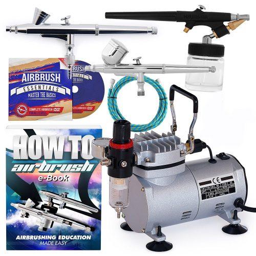 PointZero Airbrush Dual Action Airbrush Kit with 3Guns