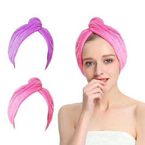 AuroTrends Microfiber Hair Towel Turban Large Wrap Turban Cap 2 Pack- Ultra Absorbent Drastically Reduce Hair Drying Time(2 Pack Peachblow & Purple)