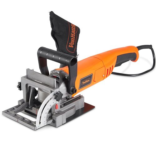 "VonHaus 8.5 Amp Wood Biscuit Plate Joiner with 4"" Tungsten Carbide Tipped Blade, Adjustable Angle, and Dust Bag - Suitable For All Wood Types"