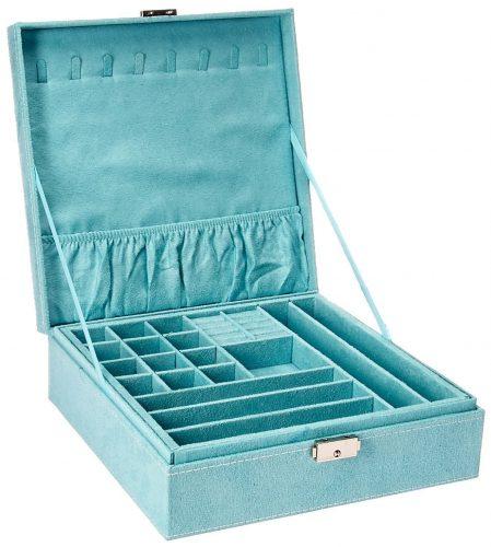 KLOUD City Two- Layer Lint Jewelry Box Organizer Box Organizer Display Storage Case With Lock .(blue)