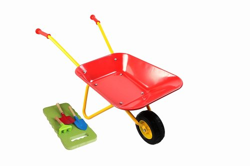 MMP Living Kids Metal Wheelbarrow Plus Tools/Kneepad, Red