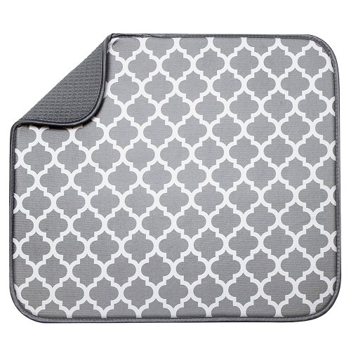 "S&T Microfiber Dish Drying Mat, 16"" x 18"", White Trellis"