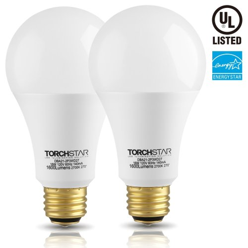 3-Way 40/60/100W Equivalent LED A21 Light Bulb, ENERGY STAR + UL-listed, 2700K Soft White, E26 Medium Screw Base, for Table Lamp, Bedside Lamp, Pack of 2