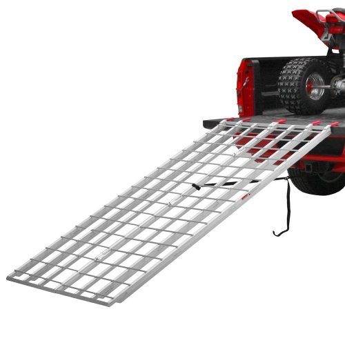 Black Widow Aluminum Extra-Long Bi-Fold ATV Ramps – IBF-9550 – 50 Inches Wide – Serrated Rungs for Traction – Two Safety Tie-Down Straps – One-Year Warranty