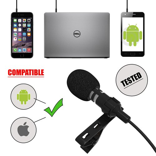 Living Venue Professional Voice Recording Lavalier Lapel Microphone for Vlogs, Smartphones, Tablets, Apple iPhone, DSLR Cameras! Best, Clip-On Lapel Microphone With FREE EXTRAS