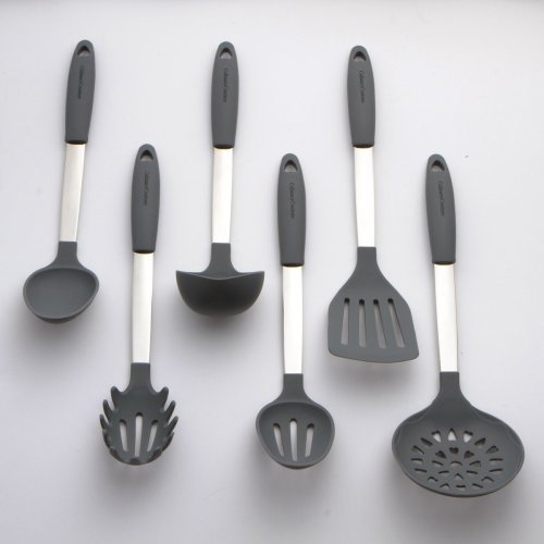 Cool Gray Kitchen Utensils Set [Silicone and Stainless Steel Heat Resistant]