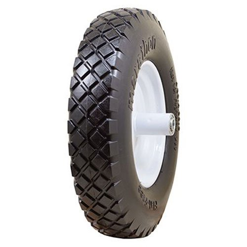 "Marathon 4.80/4.00-8"" Flat Free Wheelbarrow Tire on Wheel, 6"" Centered Hub, 5/8 Ball Bearings, Knobby Tread"
