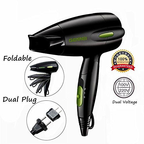 Professional Folding Blow Dryer for Travel 1300 to 1500W Negative Ion Hair Dryer Dual Voltage Lightweight, Mini 9x10 Inch Size (Black), Mothers Day Gifts for Women, Green(Not Include Cool Shot Button)