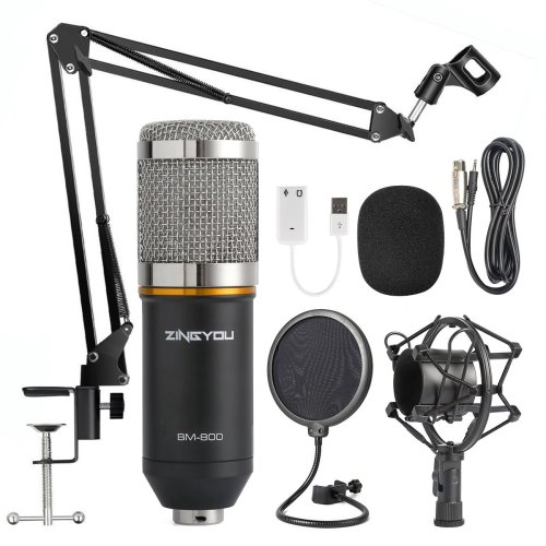 ZINGYOU Condenser Microphone Bundle, BM-800 Mic Kit with Adjustable Mic Suspension Scissor Arm, Shock Mount and Double-layer Pop Filter for Studio Recording & Brocasting (BM-800 Microphone Bundle)