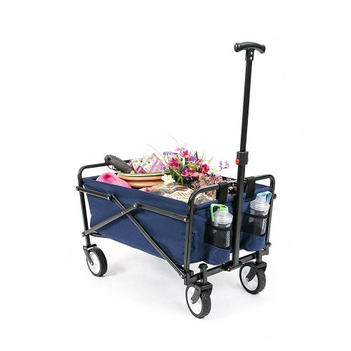 YSC Wagon Garden Folding Utility shopping [Beach Red/Navy Blue] Cart