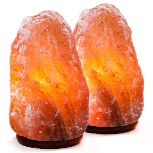 Natural Himalayan Salt Lamp. Hand Carved With Elegant Wood Base (Set of 2)