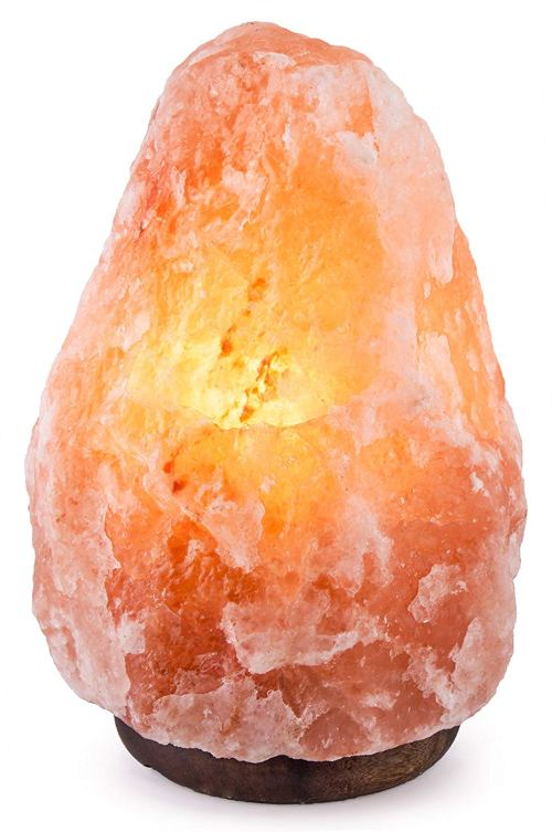 "CRYSTAL DECOR 7"" to 8"", 6-8 lbs Dimmable Hand Crafted Natural Himalayan Salt Lamp On Wooden Base"