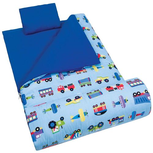 Sleeping Bag Wildkin Original Sleep Sack, Matching Travel Pillow and Storage Bag, Cotton/Microfiber Exterior, Cotton Flannel Interior, 5- 12 years – Planes, Trains, Trucks