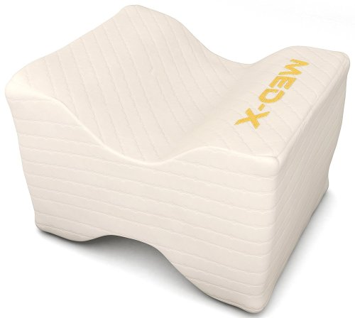 Knee pillow pain relief for sciatic nerve, leg, back, pregnancy - memory foam wedge with breathable cover
