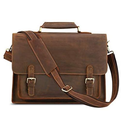 "Kattee Real Leather Shoulder Briefcase, 16"" Laptop Tote Bag"
