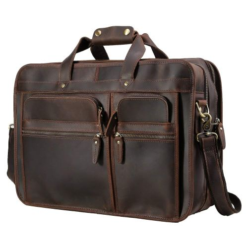 "Polare Men's 17"" Full Grain Leather Messenger Bag for Laptop Briefcase Tote"