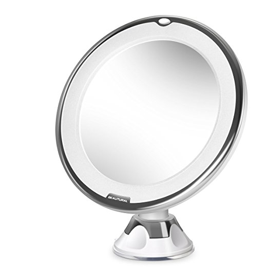 Beautural 10X Magnifying Lighted Vanity Makeup Mirror with Natural White LED, 360 Degree Swivel Rotation and Locking Suction - Makeup mirrors