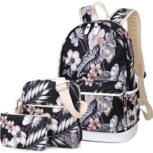 BLUBOON Canvas Bookbags School Backpack Laptop Schoolbag for Teens Girls High School