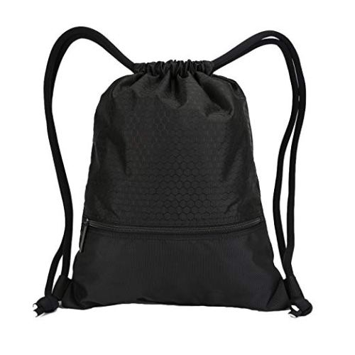 Double sturdy drawstring bag with pockets waterproof sports large backpack