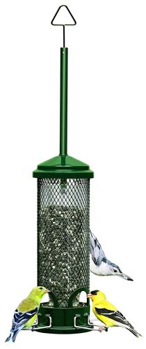 "Squirrel Buster Mini 4.4""x4.4""x21"" (w/hanger) Wild Bird Feeder with 4 Metal Perches, 1.3lb Seed Capacity"