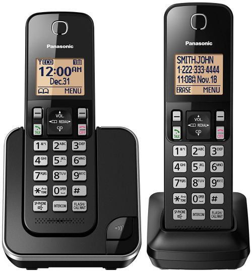 Panasonic KX-TGC352B Expandable Cordless Phone with Amber Backlit Display - 2 Handsets, Black